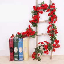 2 шт. 1,8 м искусственная Роза лоза настенный искусственный цветок Гирлянда 69 Роза пластиковый цветок Шелковый цветок лоза растение для сваде...(Китай)