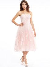 Платье без бретелек, коктейльное платье с жемчугом, розовое, чайное, с бусинами, а-силуэта, недорогое, милое, 16, с аппликацией, коктейльные пла...(Китай)