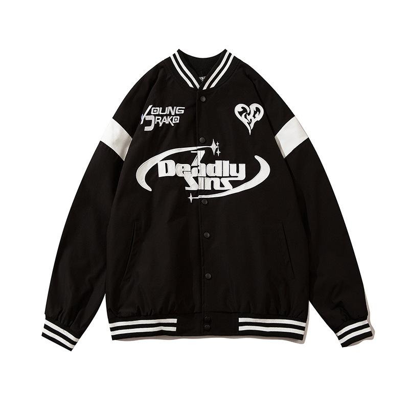 TMW high quality mens baseball jackets loose Retro Flocking Harrington Graphic chaquetas hombre man bomber cartoon jackets