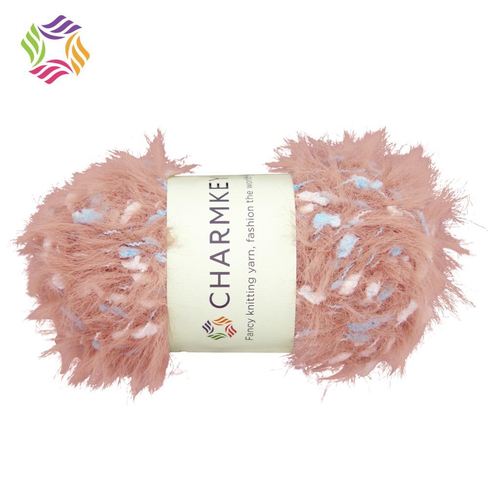 Charmkey soft solid fancy pompom air nylon melange polyester yarn manufacturer for hand knitting scarf sweater