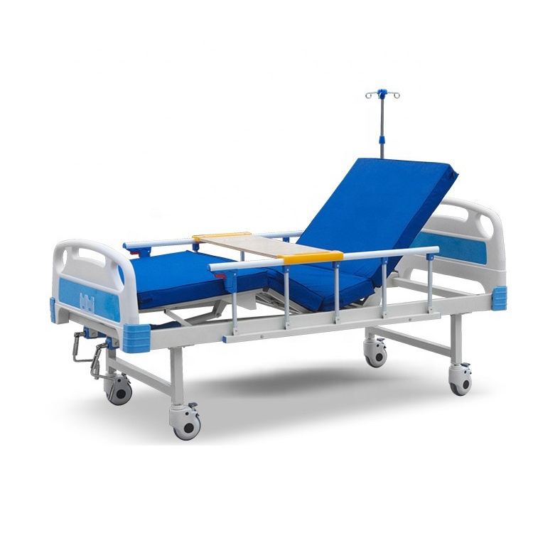 2 Cranks Manual Paramount Comfortable Hospital Bed with ABS Headboard and Aluminum Alloy rail