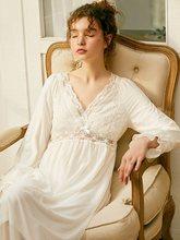 Новая Винтажная Хлопковая женская длинная ночная рубашка с длинным рукавом, милое белое кружевное платье принцессы, королевское Ночное пла...(Китай)