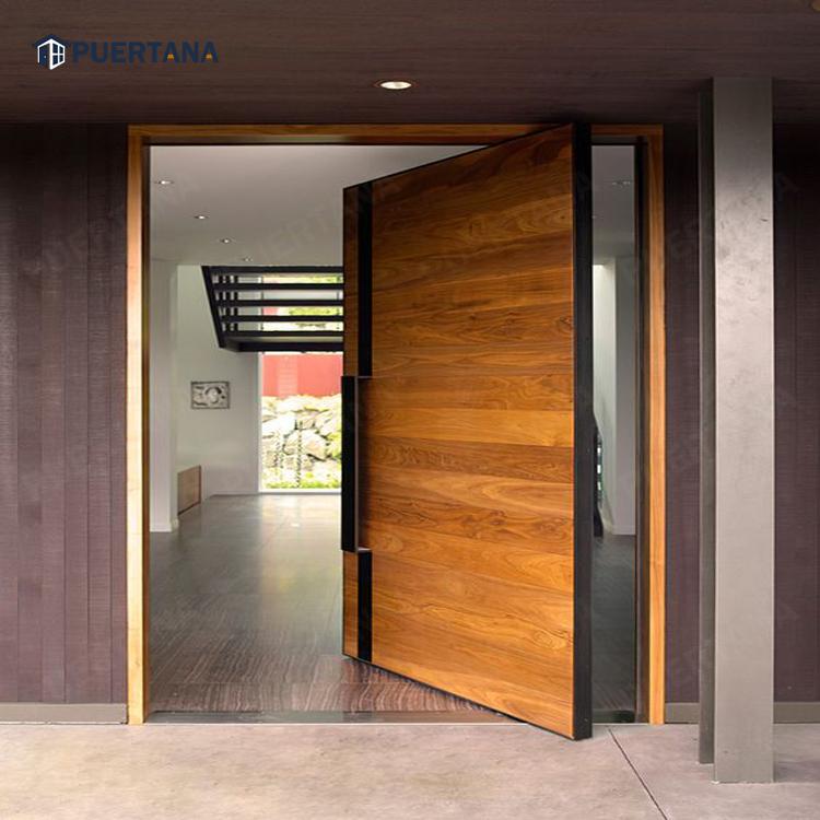 Oak Wood Large Pivot Glass Door / Front Door Designs House Entrance Door