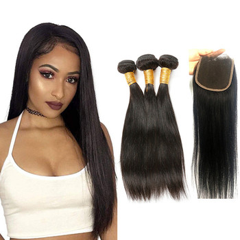 Hot selling 4x4 Lace Closure With 3 Bundles remy virgin Brazilian human hair Closure cheveux 100% humains Swiss lace 4x4 Closure