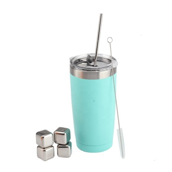 20 OZ Light Blue Stainless Steel Coffee Mug with Straw Brush and Whiskey Stone Set for Cold Tea and Coffee