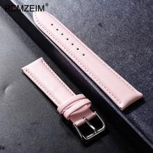 REMZEIM ремешок для часов из телячьей кожи Мягкий Материал ремешок для наручных часов 12 14 16 18 20 22 мм для женщин и мужчин аксессуары для часов(Китай)