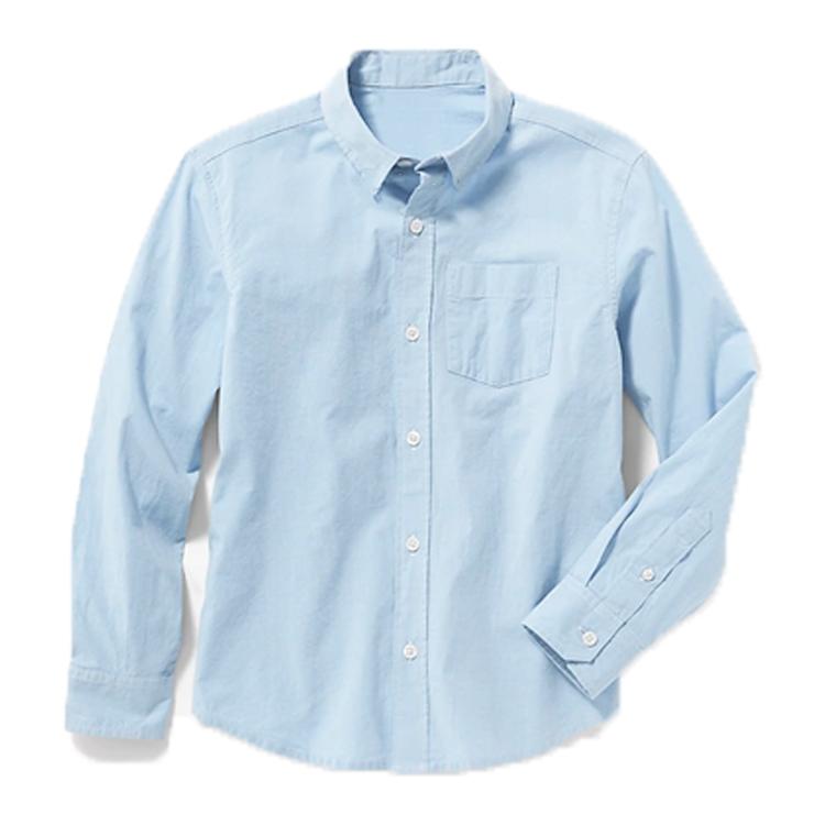 Wholesale Boys White Cotton Poplin Dress Shirt With Pocket