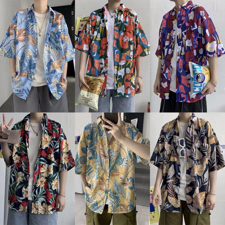 Прямая продажа с фабрики, оптовая продажа, летние пляжные яркие цветные повседневные мужские рубашки из полиэстера и хлопка с коротким рукавом и абстрактным принтом, Гавайские