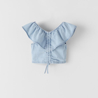 Kid Vest Top 2021 Summer Kid Vest Turn Down Collar Solid Color Sleeveless Girls Denim Top