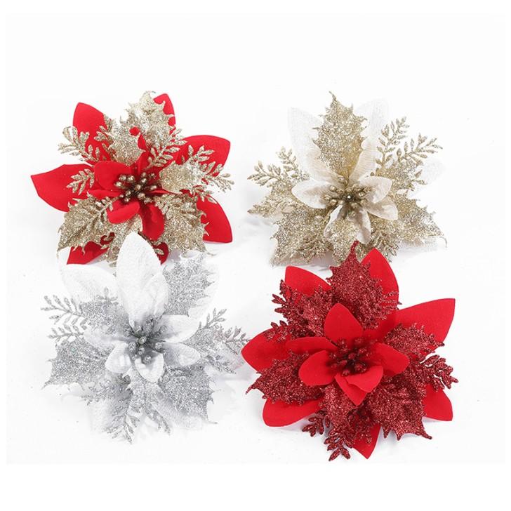 ต้นคริสต์มาสประดิษฐ์สีแดงแวววาวเซ็ทดอกไม้สำหรับต้นคริสต์มาสเครื่องประดับตกแต่ง