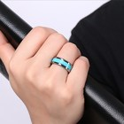 Stone Setting Tungsten Wedding Ring With Natural Stone Turquoise Gemstone Setting