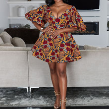 Женское мини-платье в африканском стиле с цветочным принтом, летние вечерние платья с коротким рукавом и v-образным вырезом для выпускного в...(Китай)