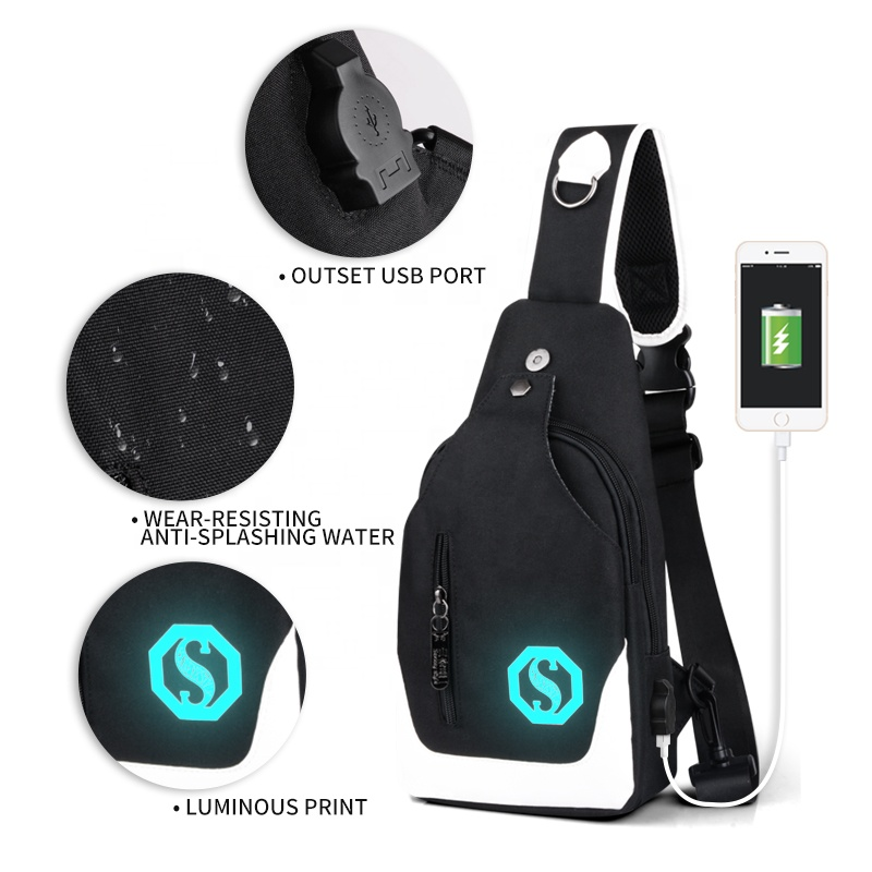 Маленькие спортивные водонепроницаемые нагрудные сумки с логотипом на заказ, мужские нагрудные сумки через плечо для мальчиков, мужские нагрудные сумки-мессенджеры через плечо с usb