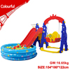 Red slide swing with ball pool