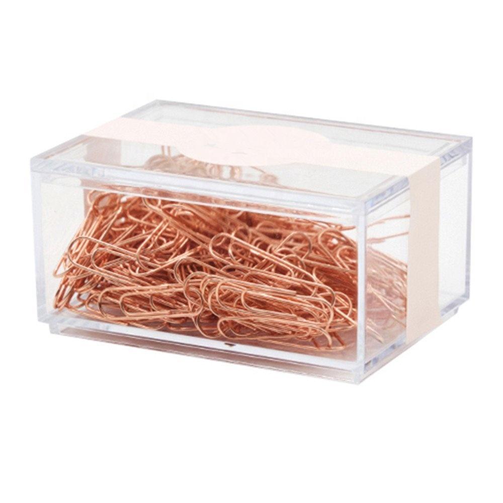 Прозрачная акриловая коробка для хранения Huisen Deluxe, розовое золото, органайзер для бумажных зажимов