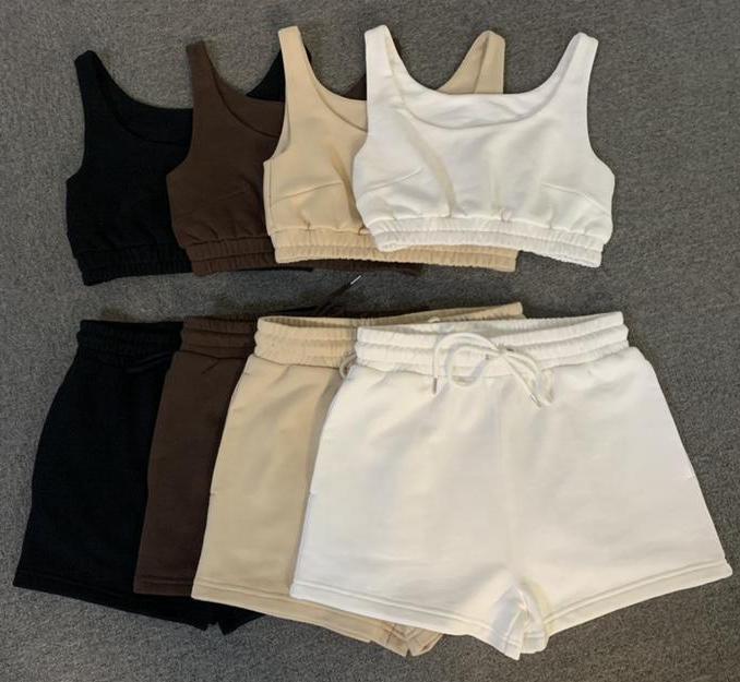 Custom Two Piece Short Pants Set Women Clothing 2021 Joggers 2 Piece Short Set Solid Color Outfits Women Short Sets Two Pieces