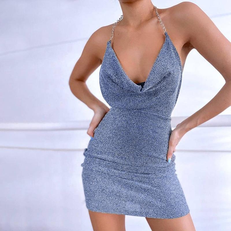Wholesales YOUBOR ladies dresses 2021 fashion glitter dress for women spaghetti strap sexy party dresses women