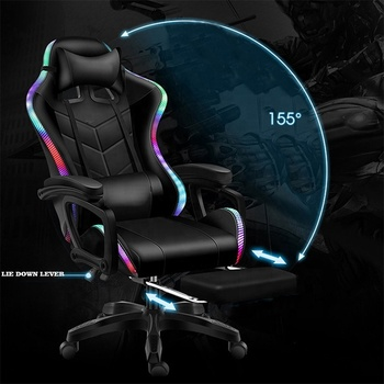 2021 Gaming Chair Gaming Racing Computer Chair LED RGB Modern Home Office Reclining Adjustable Gaming Chair