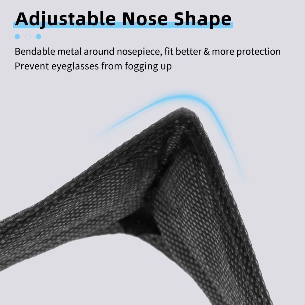 Wholesale Black Disposable Masks Individual Packaging Wrapped 3-Layer Dust-Proof Breathable Medical Masks Private Label