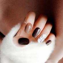 24 шт./компл., Модные накладные ногти, натуральные прозрачные блестящие накладные ногти для ежедневной носки, накладные ногти для наращивани...(Китай)