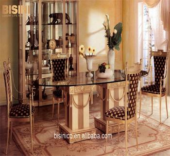 Italian Palace And Royal Baroque Oval Dining Table Sets With 6 Chairs