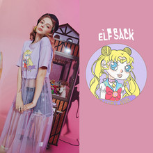 Женская футболка ELFSACK, Лавандовая или фиолетовая Повседневная футболка с контрастной сеткой и графическим принтом в стиле Харадзюку, лето ...(China)