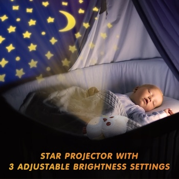 Baby Sleep Aid with 15 Soothing Music, 3 Modes Starry Sky Projector Auto Timer Washable Owl Plush Toys with Lullabies