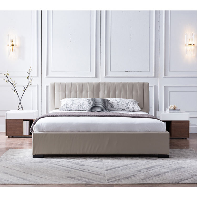 Nordic modern  real leather double head cowhide simple small family marriage bed