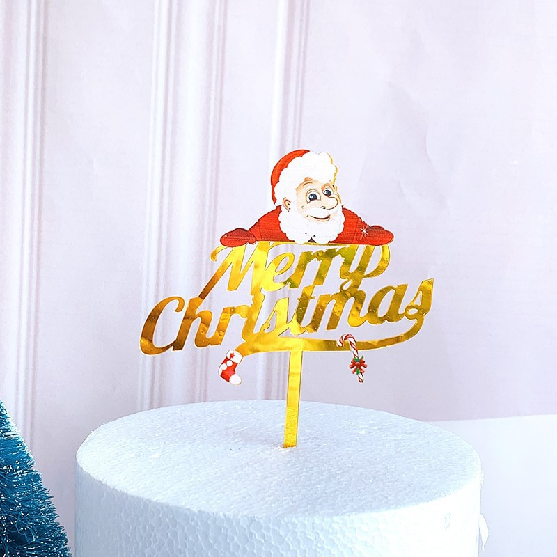 New Style Merry Christmas Party Decoration Supplies Acrylic Cartoon Cake Toppers