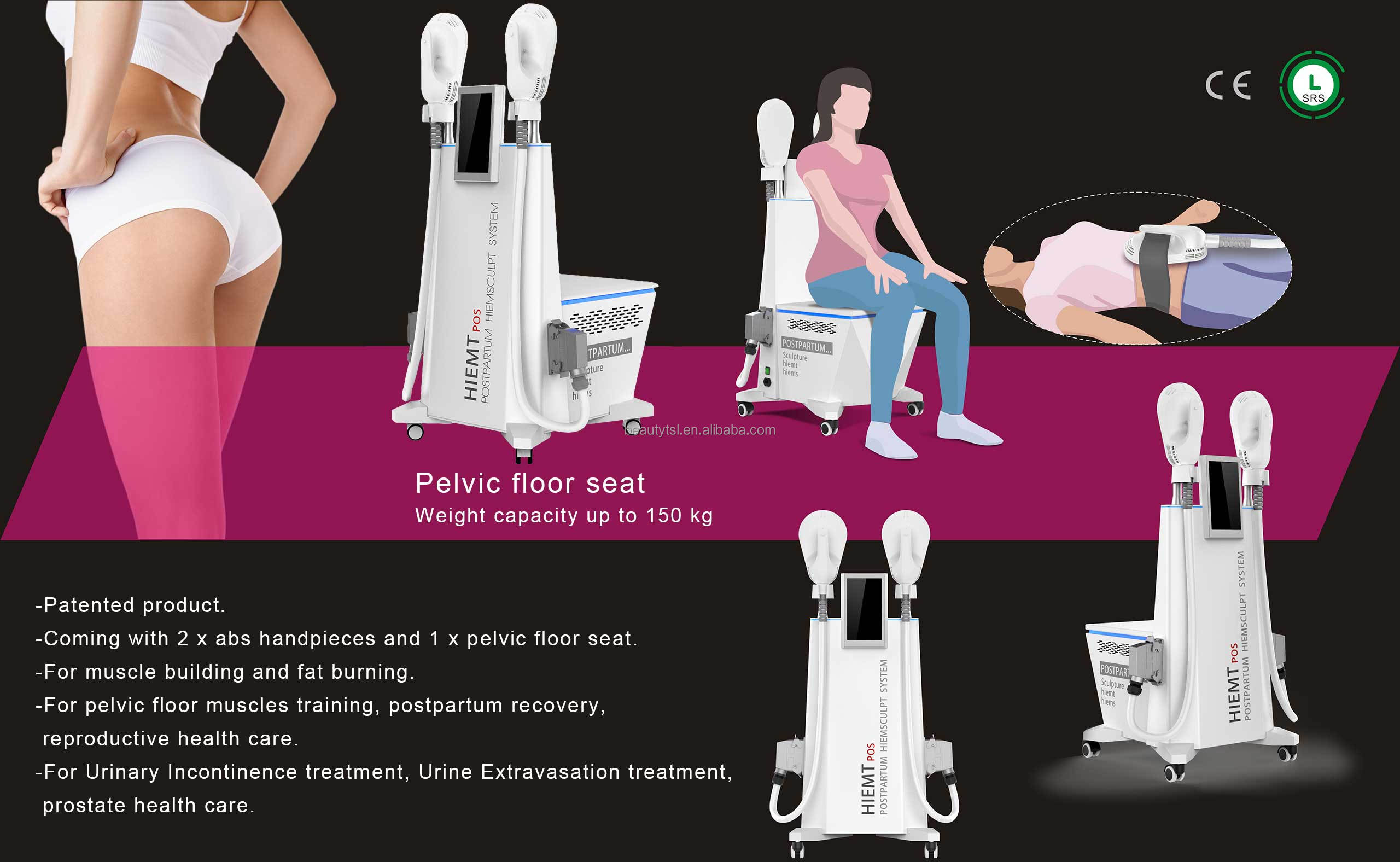 Professional pelvic floor seat chair buttock lifting fat dissolving hi emt ems electromagnetic muscle chair hiemt pos pro max