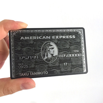 Customized data engraved black metal credit business card