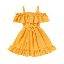 Детские платья для девочек, вечерние платья из полиэстера с оборками для девочек, однотонные Бальные платья на лямках, детская одежда для де...(Китай)