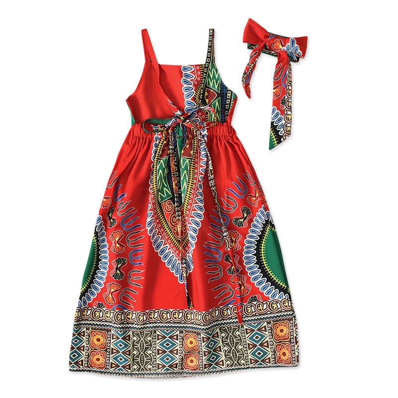 Mxchan красного цвета детское платье с headtie печати цвета, детская одежда, в африканском стиле; Одежда для детей