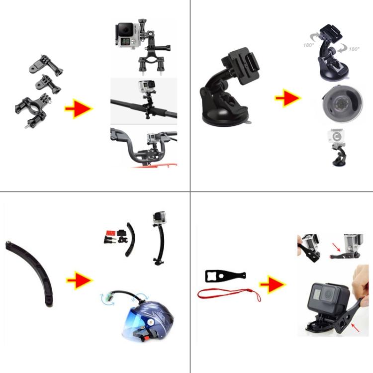 Комплекты комбинированных аксессуаров PULUZ 50 в 1 с чехлом из ЭВА для Gopro Hero 9