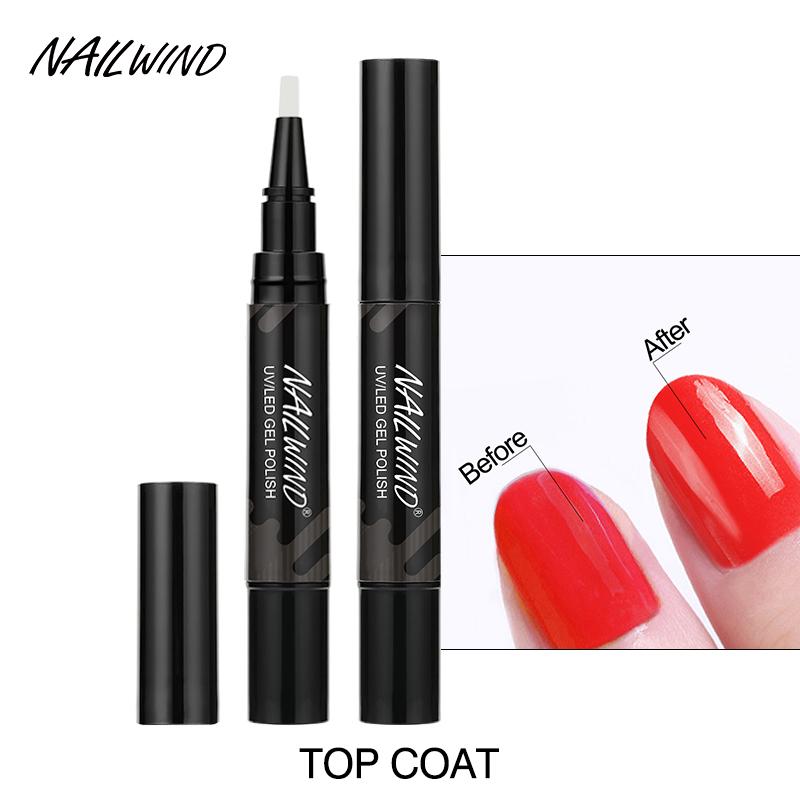 NAILWIND private label oem 5ml base top coat gel nail polish pen soak off uv/led lamp base and top gel polish pen for nails art