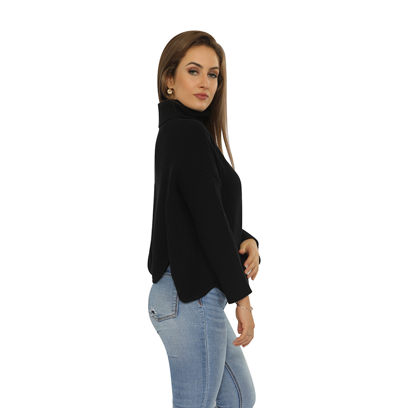 Factory wholesale ladies sexy turtleneck pullover with keyhole on the back