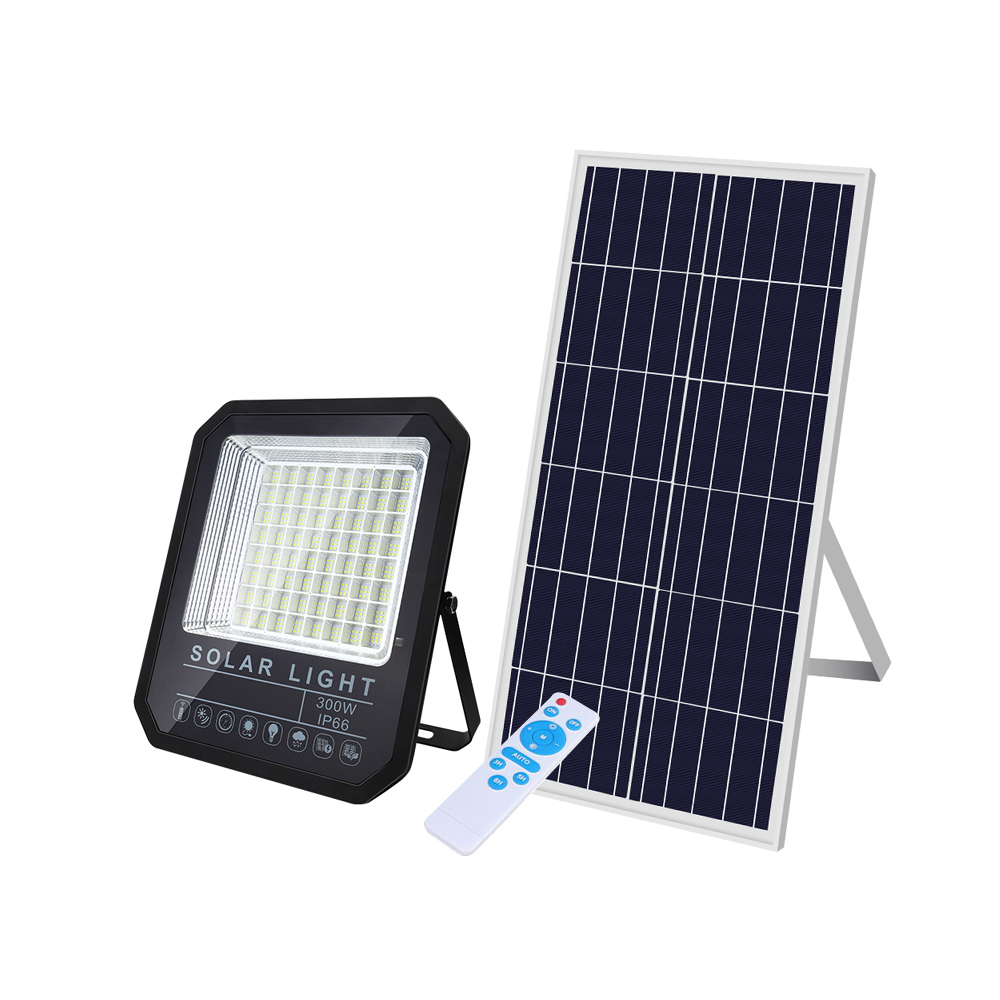 100% QC with good price working hours are up to 12 hours remote control led 100W solar flood light