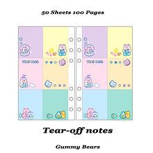 A6 многоразовый блокнот, 6 колец, ядро, спираль, сменный журнал, милый кавайный блокнот, еженедельная сетка, пустая линия, дневник, бумажный се...(Китай)