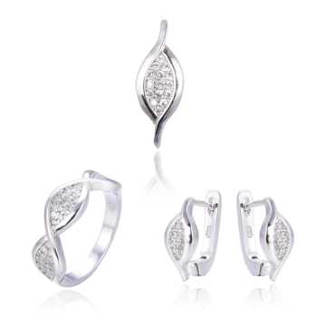 DiFeiYa new fashion Zircon latest indian Jewellery iced out Ring Earrings Pendant Necklace Set for women
