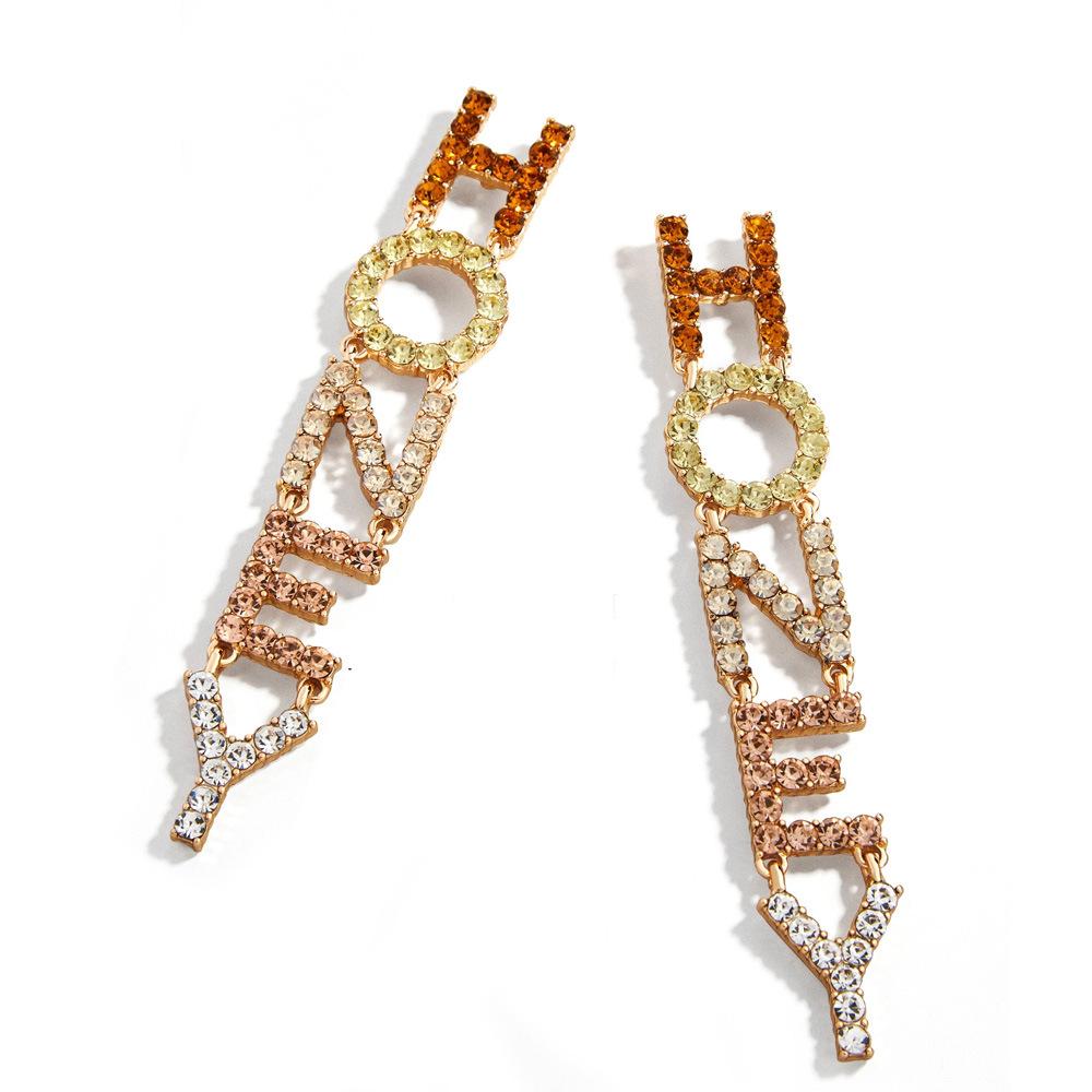 Custom Diamond Letter Earrings For Women Long Name Earrings Honey Buy Custom Earrings Letter Earrings Diamond Earrings Product On Alibaba Com