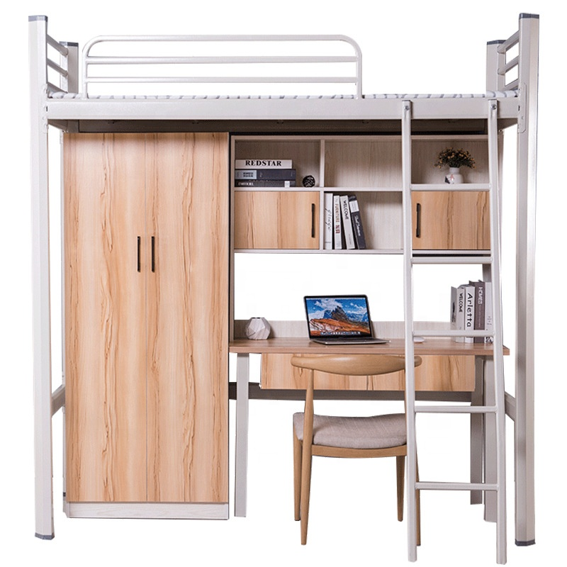 Steel frame metal dormitory bedroom furniture kids bunk beds school dormitory bed with table for kid with storage and curtainers
