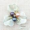 colored pearls three petals 3.6*3.6cm