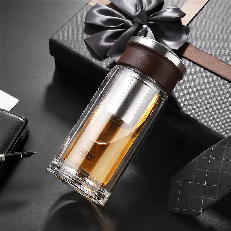 Портативная стеклянная чайная бутылка с двойными стенками, Офисная кружка с чайным фильтром из нержавеющей стали, бутылки для воды, не обжи...(Китай)