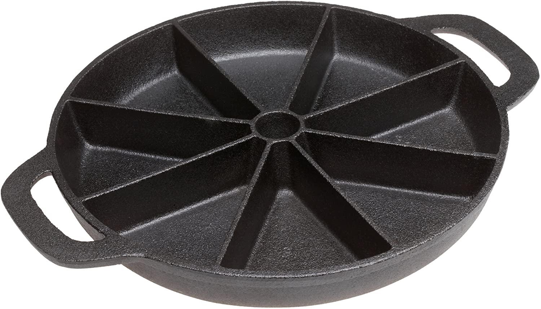 9' Seasoned Cornbread Pan wedge 8, Cast Iron Wedge Cornbread Skillet With Loop handles