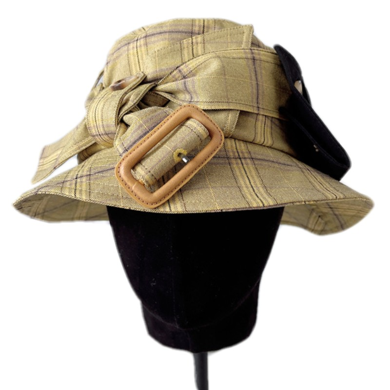 2021 new hot sell women Fashion chic grid Packable UV protection sun hat Bucket Hat Fisherman hat with buckle bowknot
