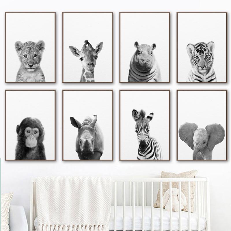 Nordic Style Safari Baby Animals Canvas