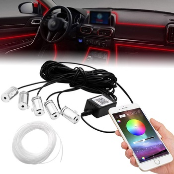 6m EL Neon Wire RGB Multi-Color LED Car Interior Strip Light Phone APP Control Atmosphere Light