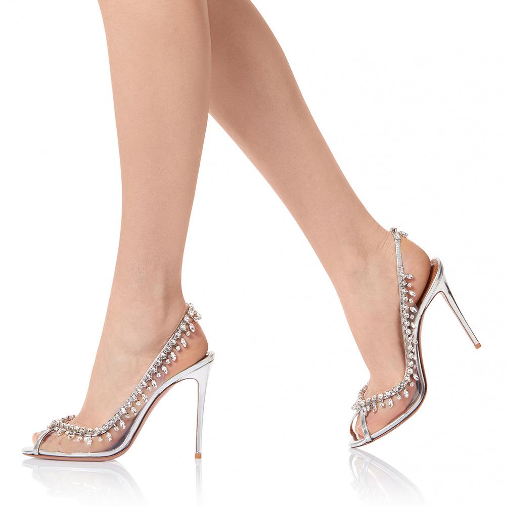 PVC peep toe high heel gorgeous wedding chain drill women shoes size 12 pumps