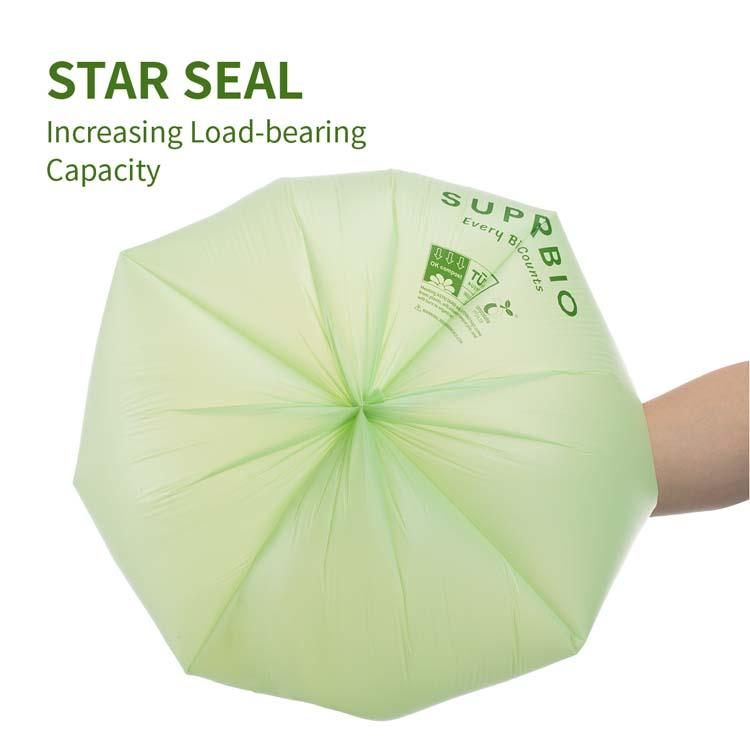 2,6 галлонов ASTM D6400 и EN13432 100% биоразлагаемый мусорный мешок с ручкой