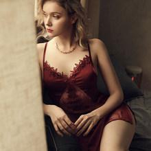 Сексуальное Кружевное женское ночная рубашка с открытой спиной и v-образным вырезом, ночная рубашка на бретельках, женское шелковое атласно...(Китай)